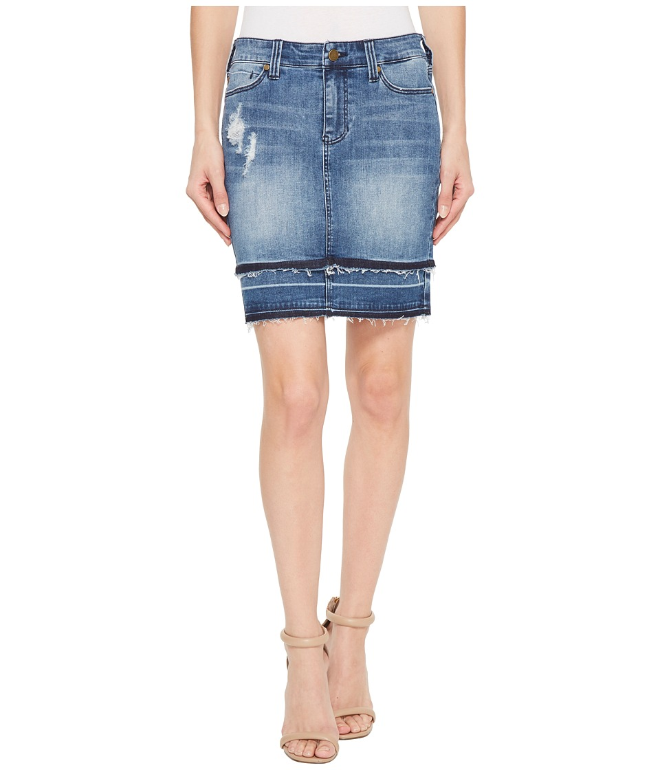 Liverpool Double Hem Skirt in Vintage Super Comfort Stretch Denim in Fairhaven (Fairhaven) Women