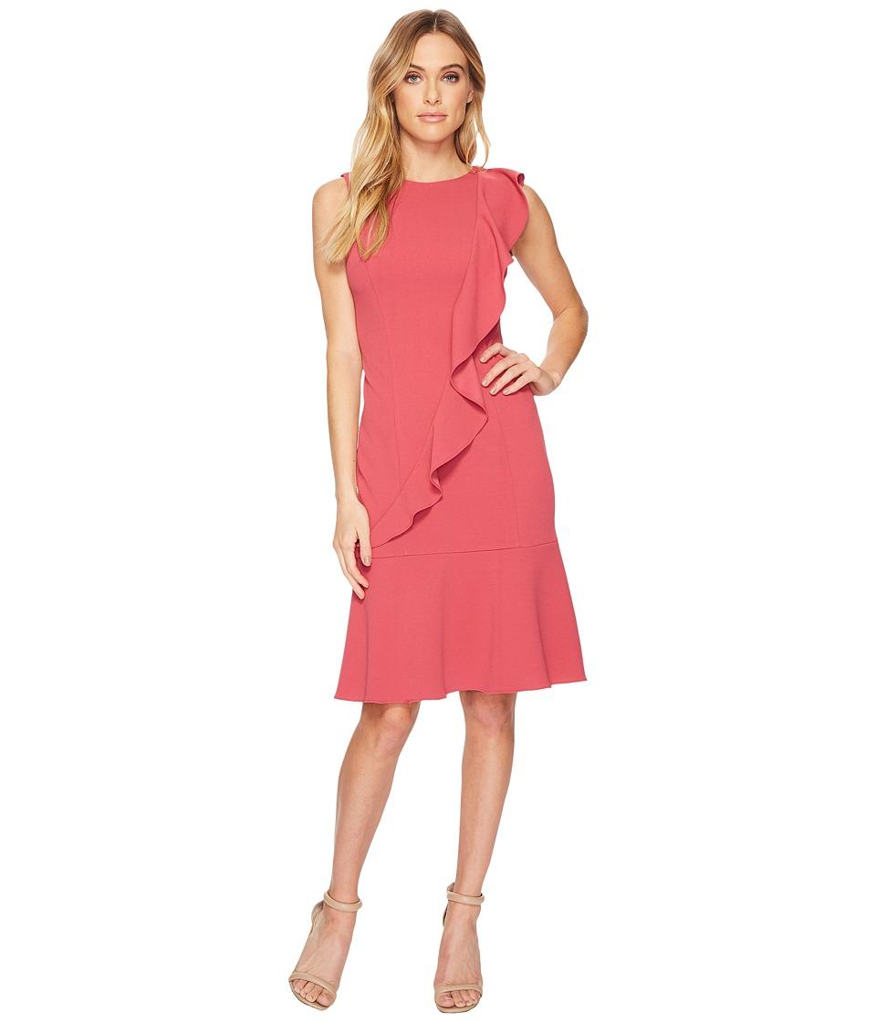 Adrianna Papell Knit Crepe Corkscrew Dress w/ Dropwaist (Faded Azalea) Women
