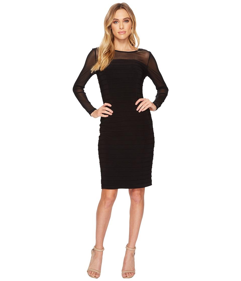 Adrianna Papell Matte Jersey Pintucked Dress (Black) Women