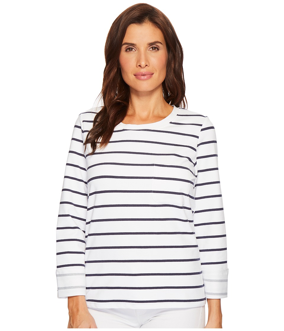 Tribal Stripe French Terry Long Sleeve Top w/ Pocket and Lace-Up Back (White) Women
