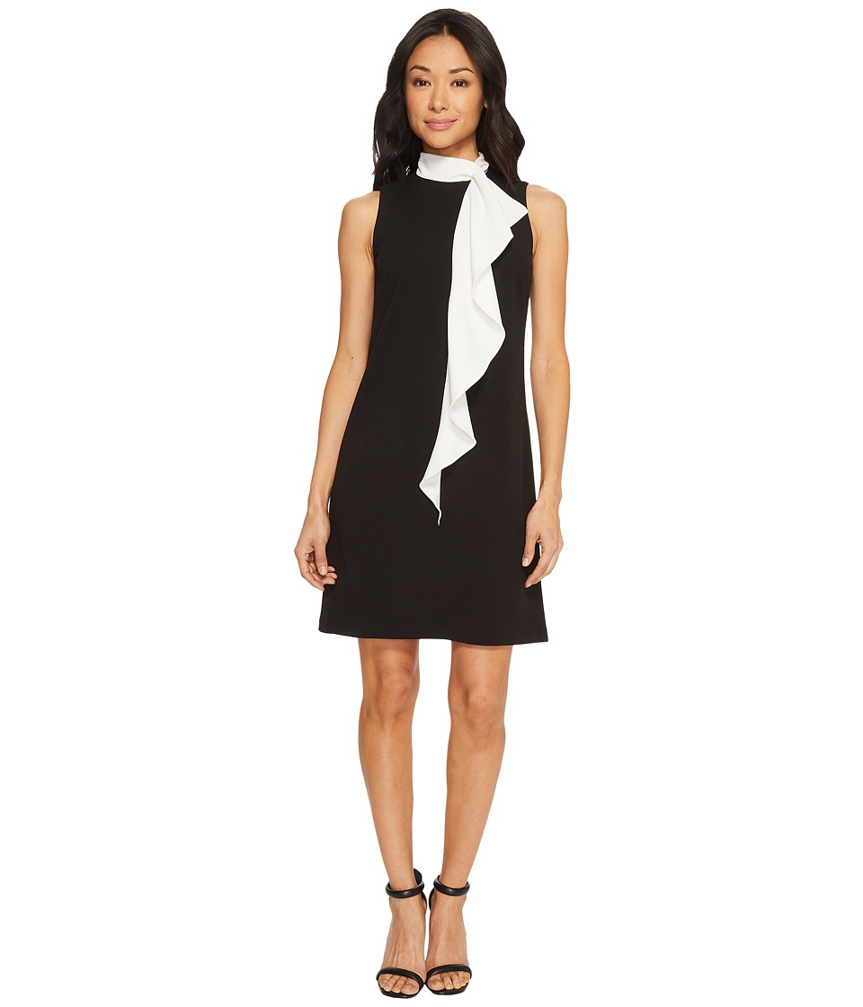 Adrianna Papell Knit Crepe Corkscrew Shift Dress (Black/Ivory) Women
