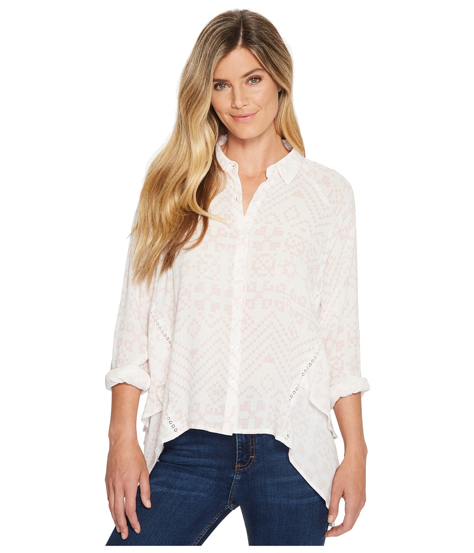 Miss Me High-Low Button Long Sleeve Top (Multi White) Women