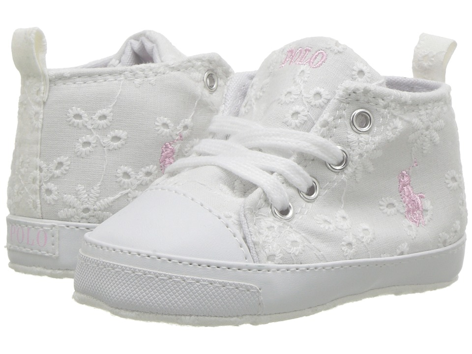 Polo Ralph Lauren Kids Hamptyn Hi (Infant/Toddler) (White Eyelet/Pink Pony  Player) Girl\u0027s Shoes