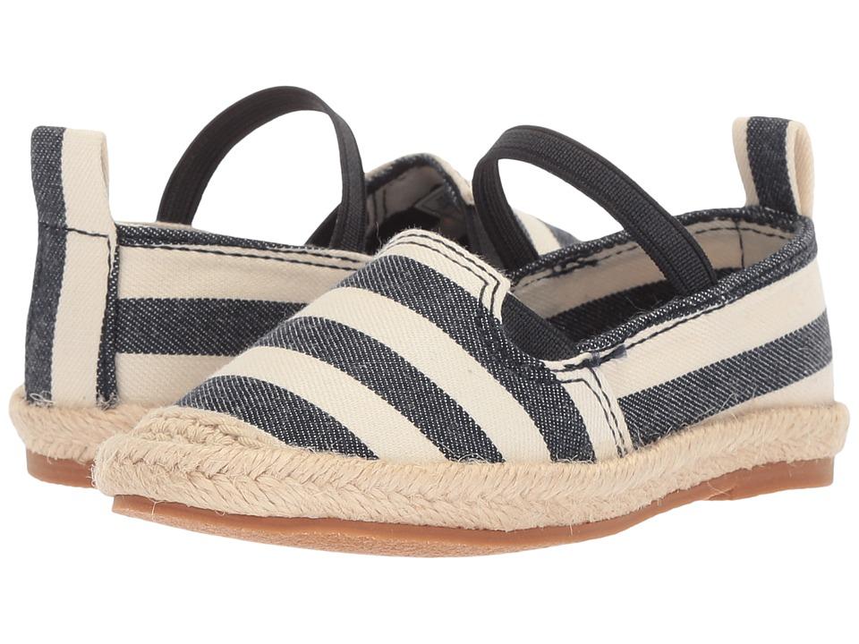 Polo Ralph Lauren Kids Beakon (Toddler) (White/Navy Striped) Girls Shoes