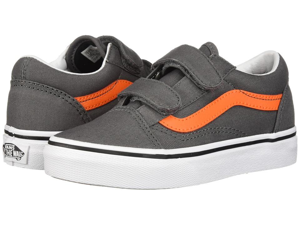 Vans Kids Old Skool V (Little Kid/Big Kid) (Pewter/Flame) Boys Shoes