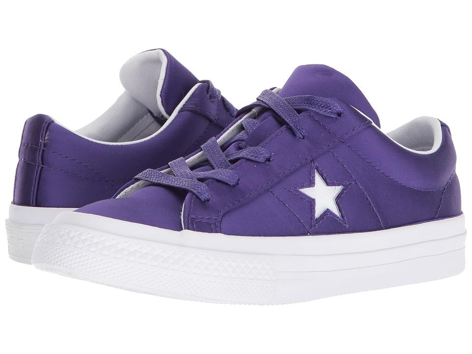 Converse Kids One Star Ox (Little Kid) (Court Purple/White/White) Girls Shoes