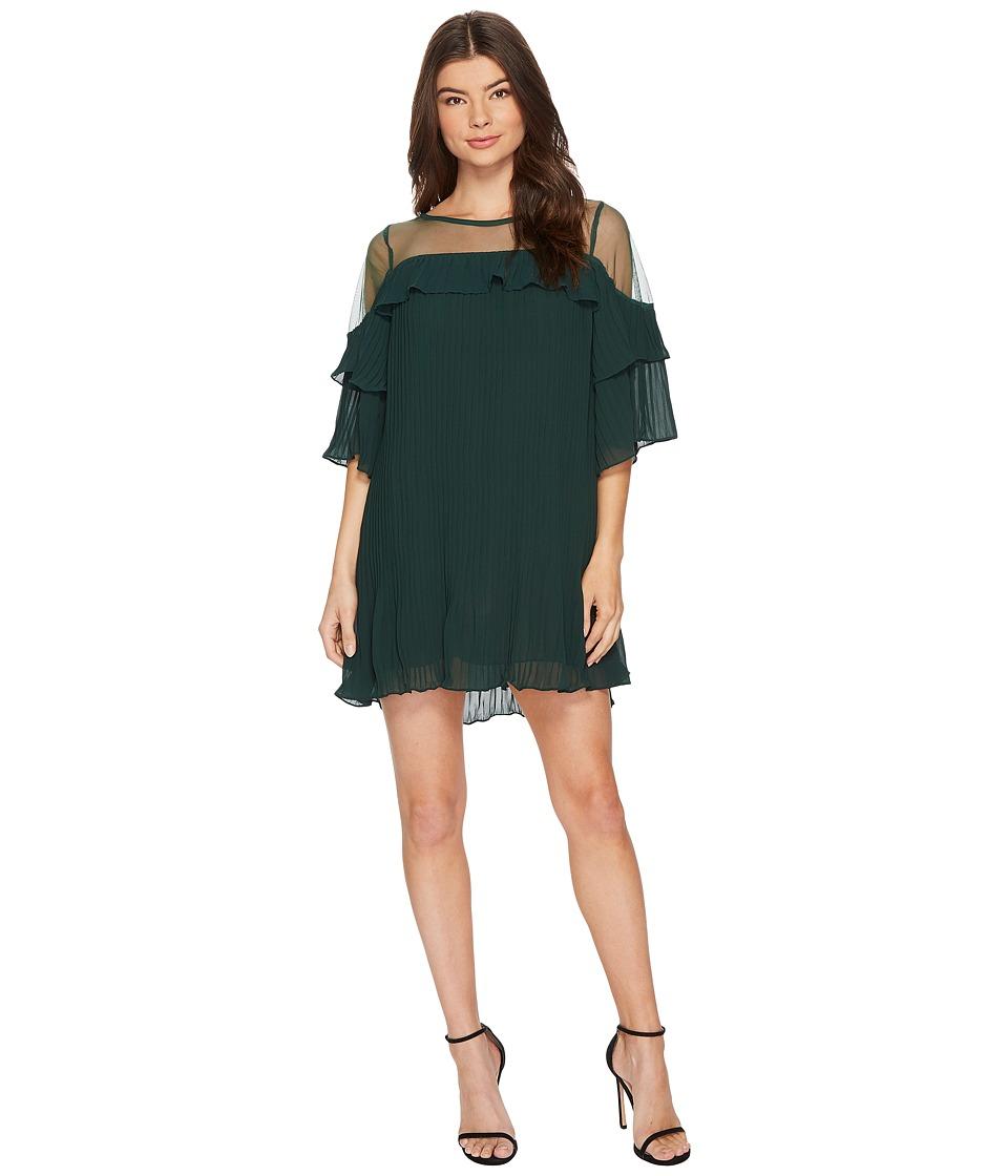 ROMEO & JULIET COUTURE Sheer Detail Pleated Dress (Hunter Green) Women