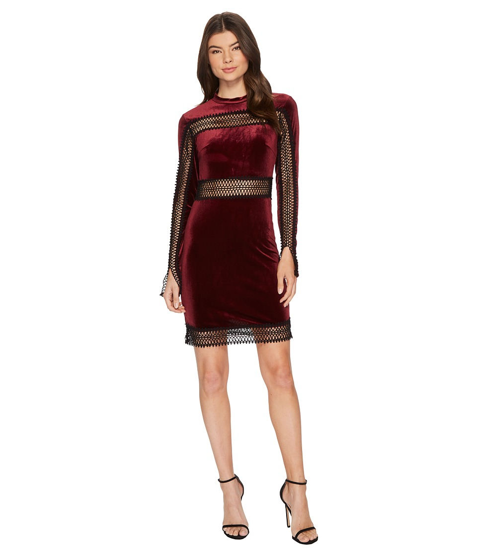 ROMEO & JULIET COUTURE Velvet Sheer Lace Trim Dress