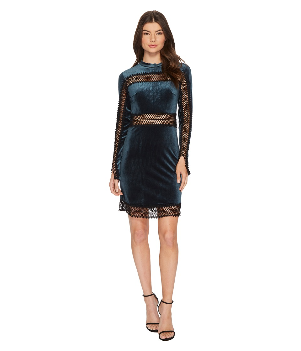 ROMEO & JULIET COUTURE Velvet w/ Sheer Lace Trim Dress (Emerald) Women