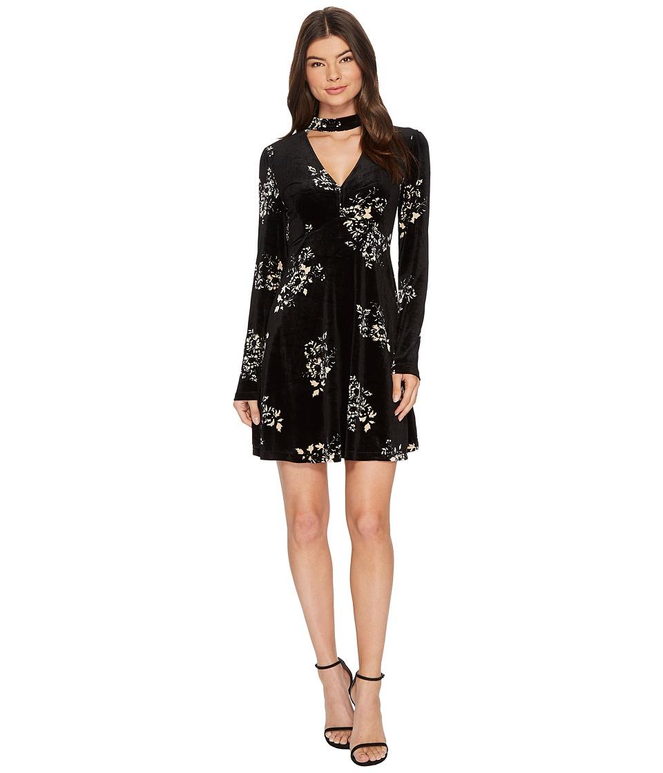 ROMEO & JULIET COUTURE Floral Print Velvet Dress (Black/Cream) Women
