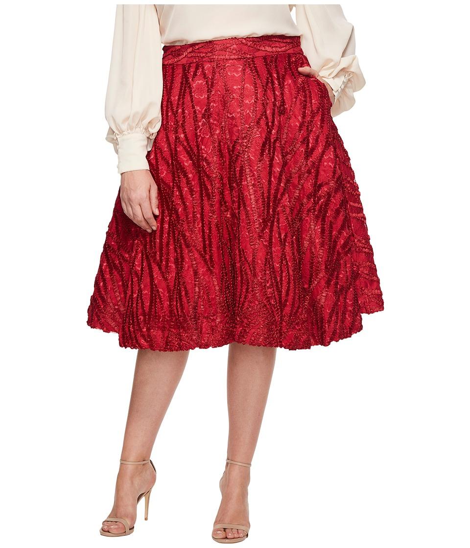 Unique Vintage Plus Size High Waist Greenwich Swing Skirt (Burgundy Red) Women