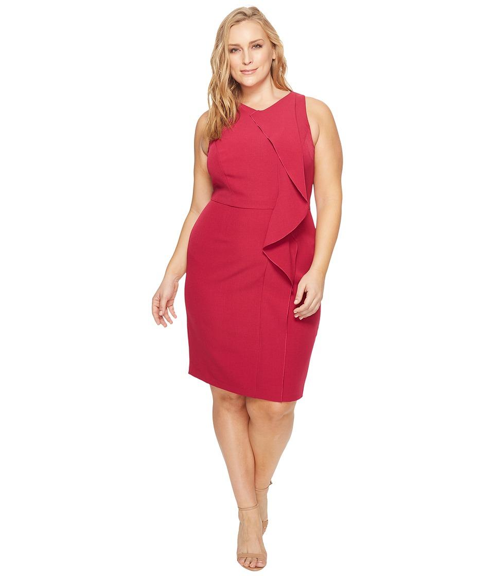Adrianna Papell Plus Size Crepe V-Neck Sheath Dress (Geranium) Women