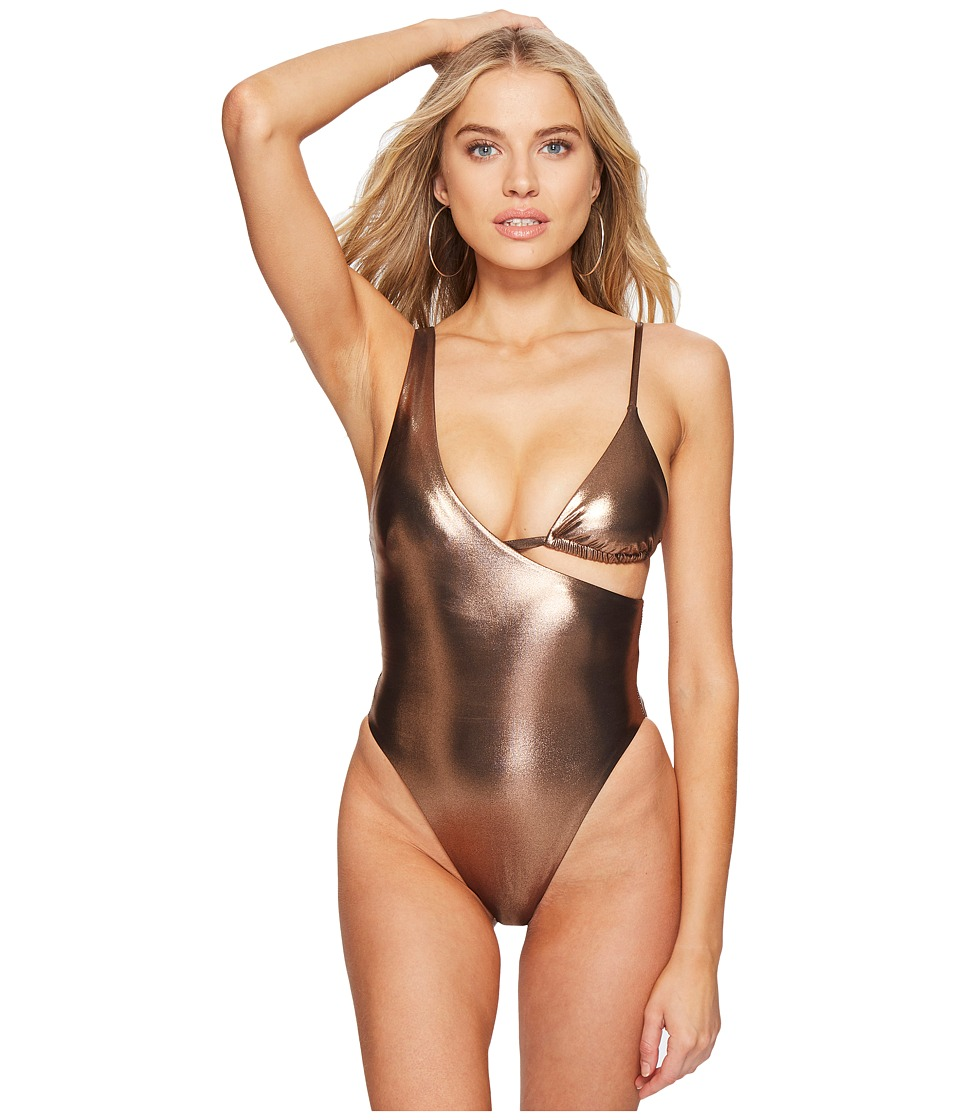 Sports Illustrated Femme Fatal Asymmetrical Shiny One-Piece (Rose Gold) Women