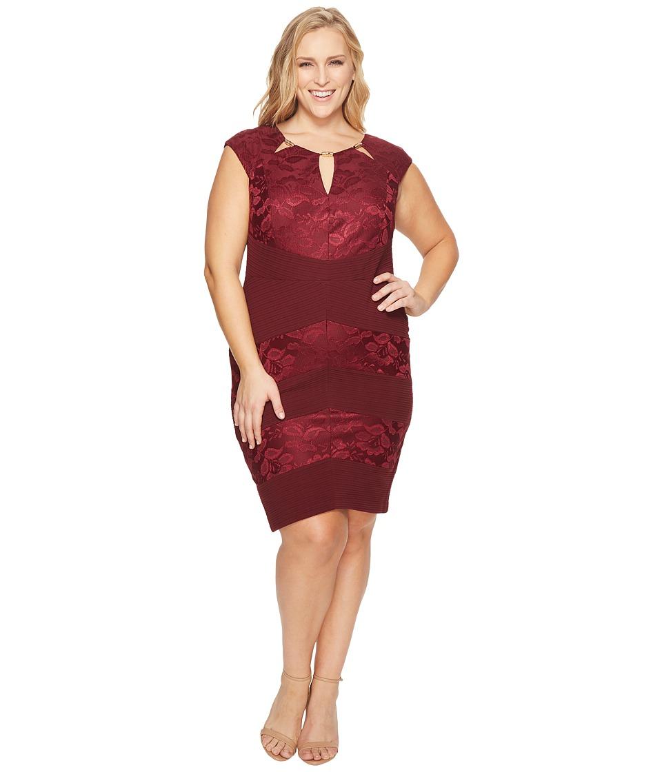 Sangria Plus Size Cut Out Sheath Dress (Wine) Women