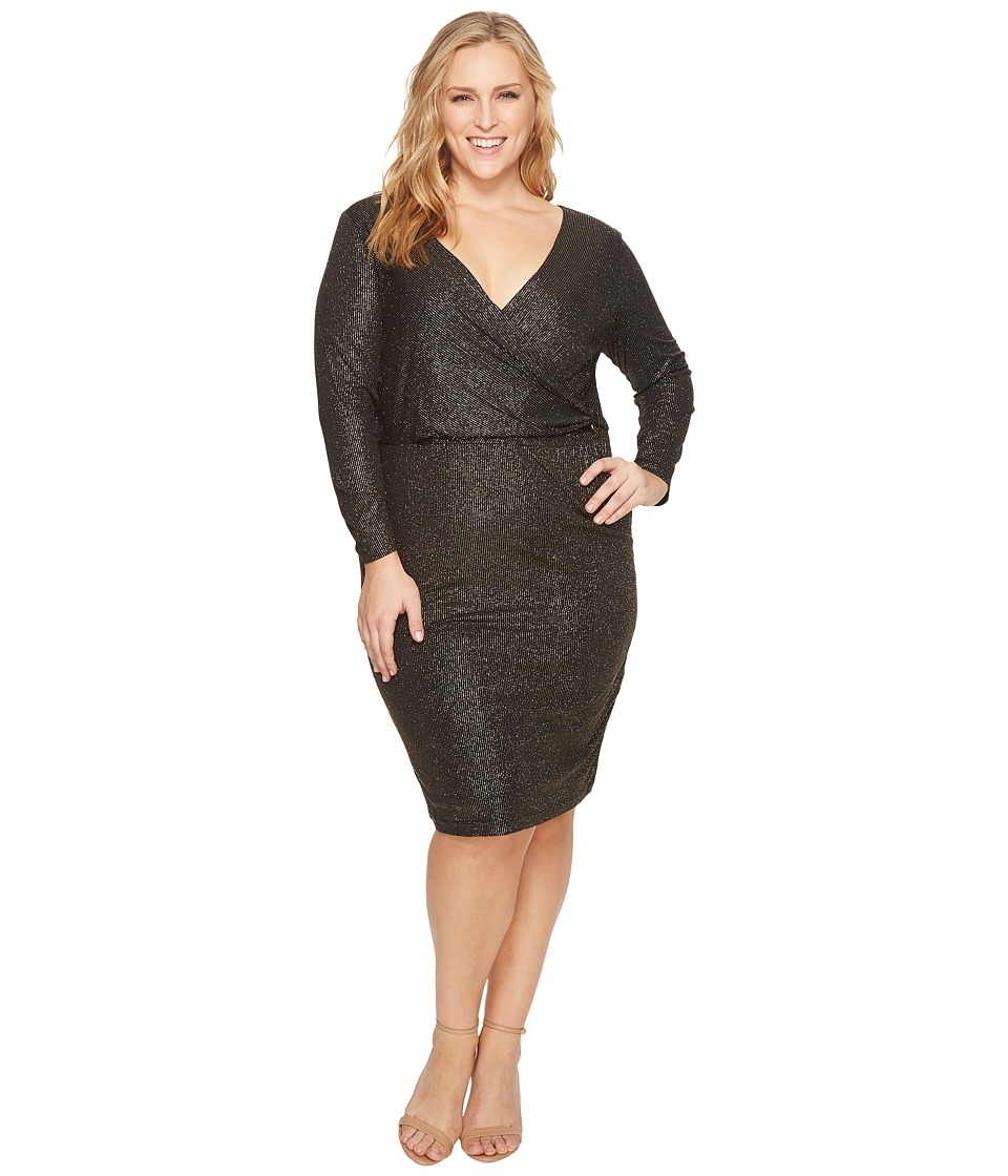 Sangria Plus Size Metallic Dress (Black/Gold) Women