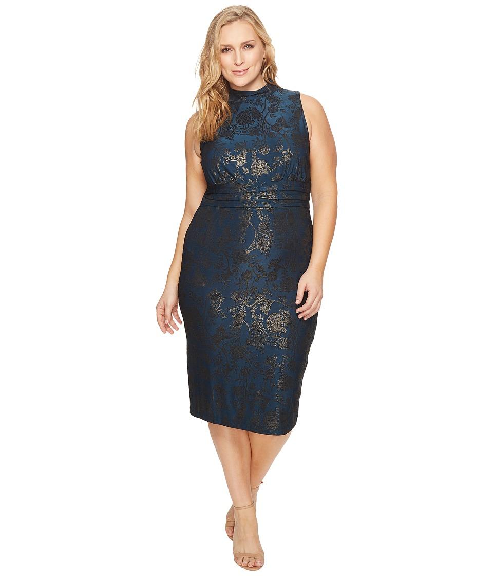 Sangria Plus Size Mock Neck Sheath Dress (Galaxy Gold) Women