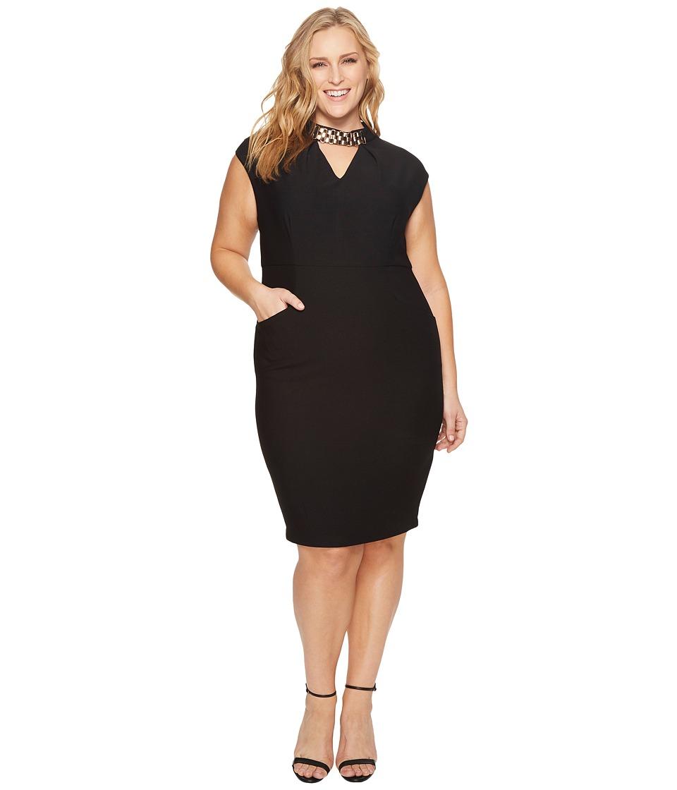 Sangria Plus Size Embellished Neck Sheath Dress (Black) Women