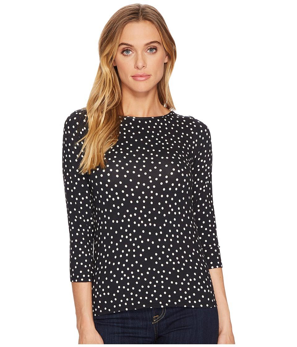 Three Dots Confetti Dot 3/4 Sleeve Top (Dark Navy) Women