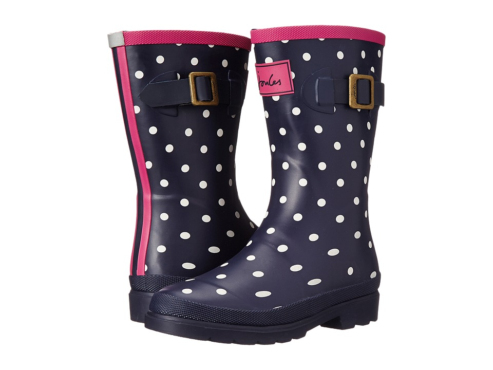 Joules Kids Printed Welly Rain Boot (Toddler/Little Kid/Big Kid) (Navy Spot) Girls Shoes