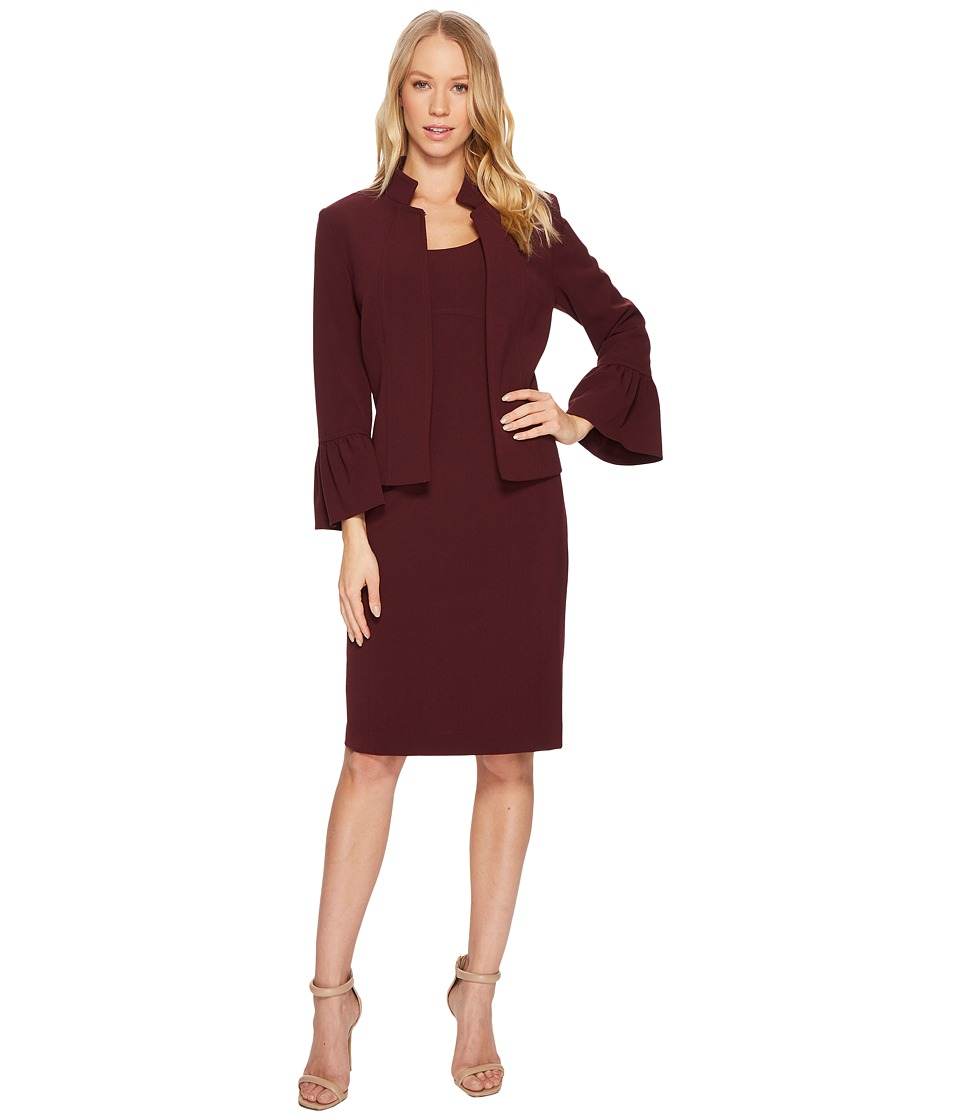 Tahari by ASL Bi-Stretch Jacket Dress with Stand Collar (Wine Wine) Women