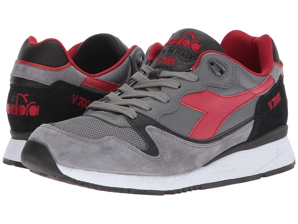 Diadora V7000 Italia (Steel Gray/Stetch Limo) Athletic Shoes