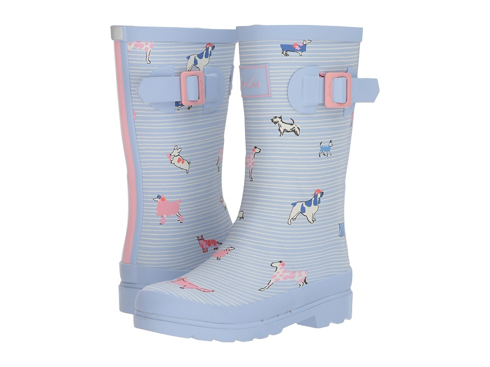 Joules Kids Printed Welly Rain Boot (Toddler/Little Kid/Big Kid) (Sky Blue Sunday Best Dogs) Girls Shoes