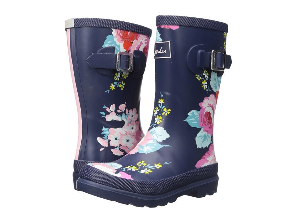 Joules Kids Printed Welly Rain Boot (Toddler/Little Kid/Big Kid) (Dark Floral) Girls Shoes