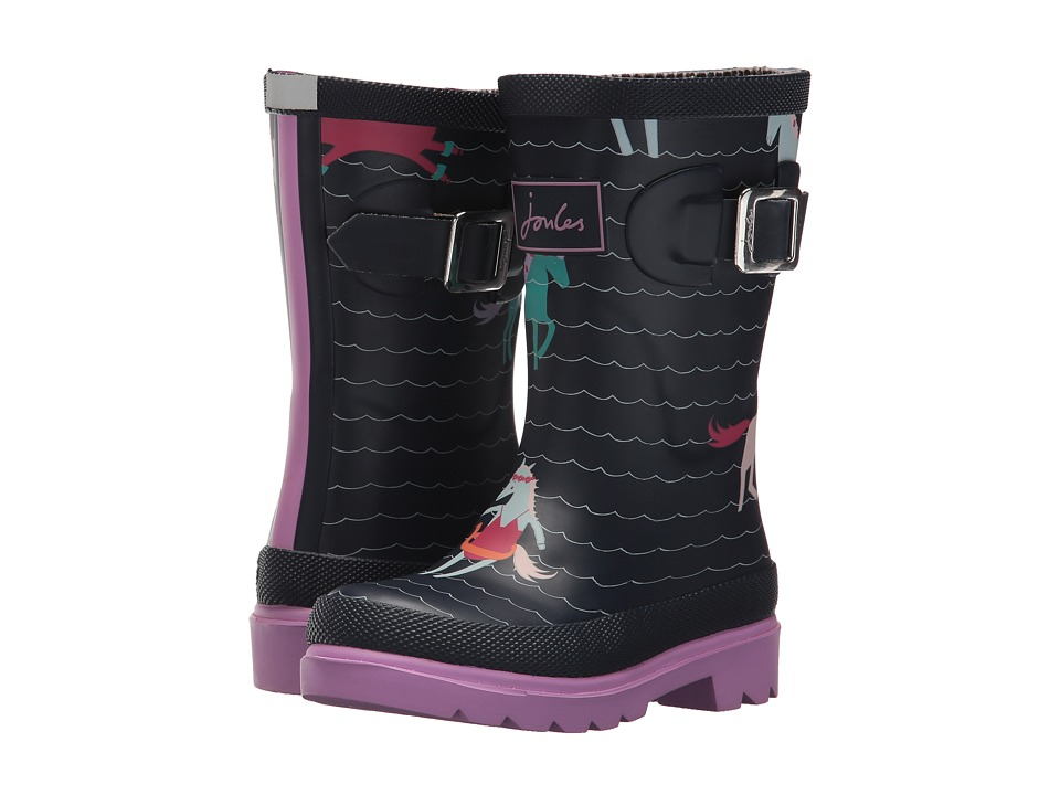 Joules Kids Printed Welly Rain Boot (Toddler/Little Kid/Big Kid) (French Navy Sea Pony) Girls Shoes