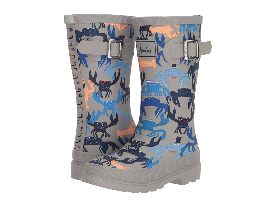 Joules Kids Printed Welly Rain Boot (Toddler/Little Kid/Big Kid) (Grey Crab) Boys Shoes