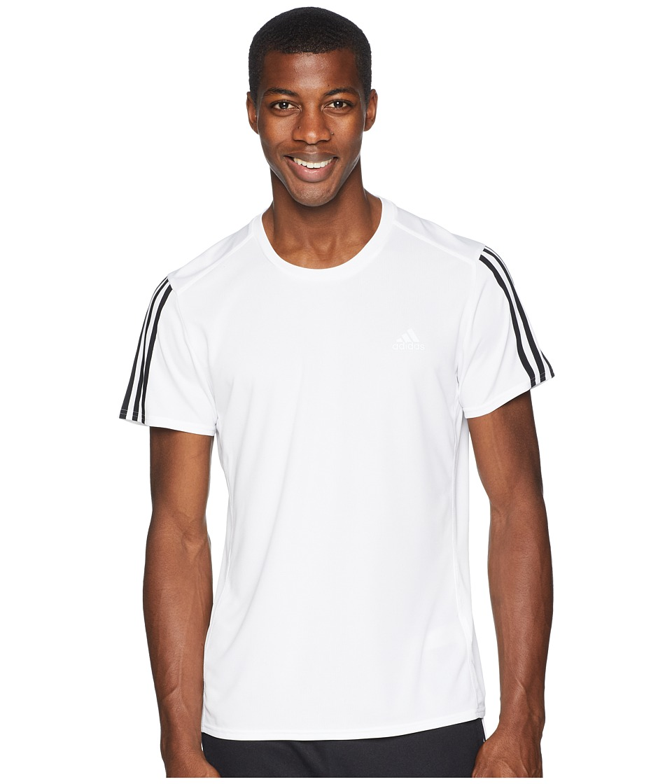 adidas 3-Stripes Run Tee (White/Black) Men