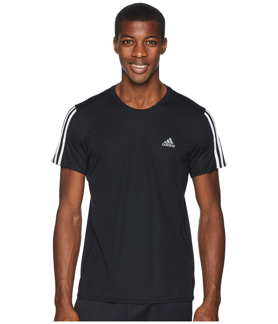 adidas 3-Stripes Run Tee (Black/White) Men