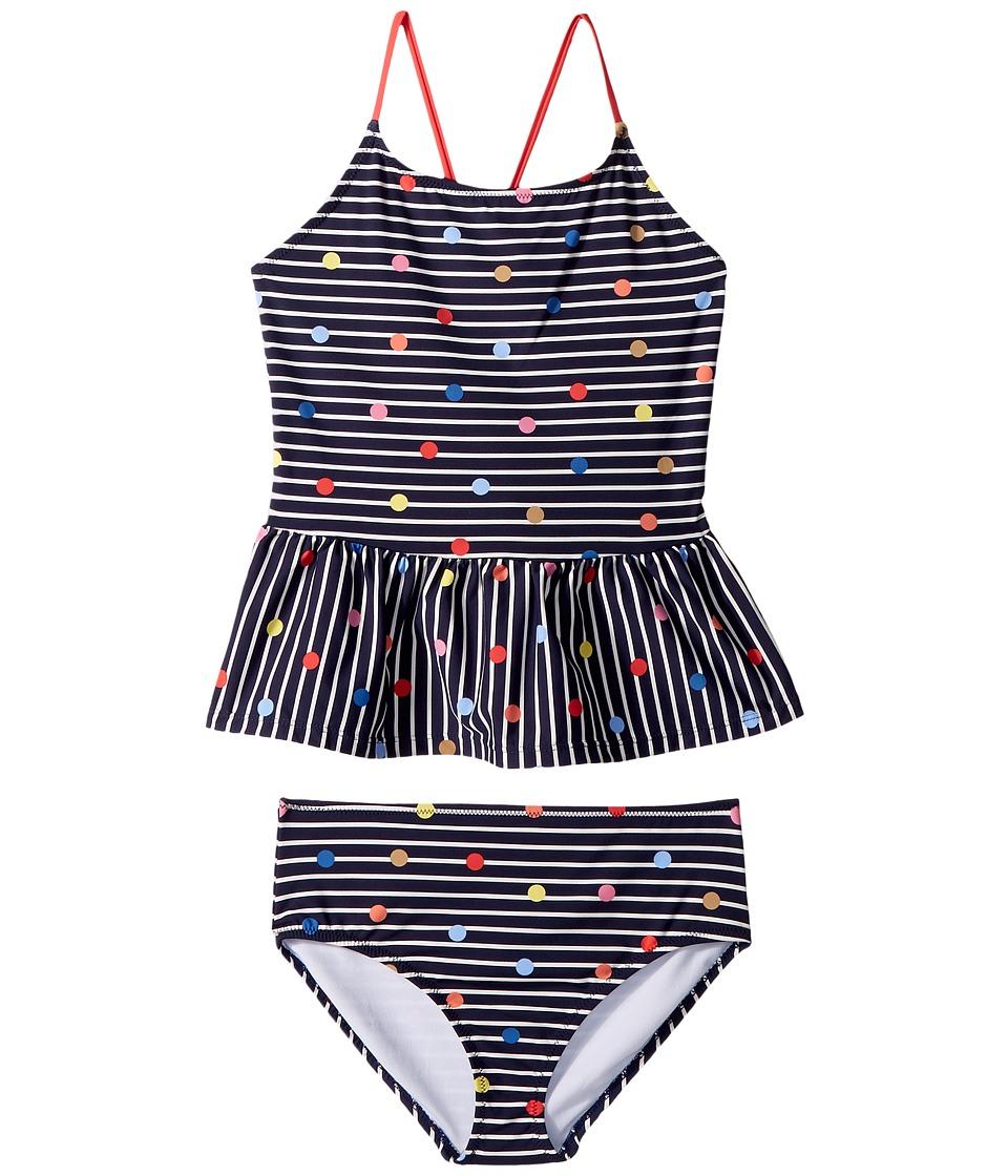Joules Kids Two-Piece Printed Swimsuit (Toddler/Little Kids/Big Kids) (Navy Stripe Fun Spot) Girl