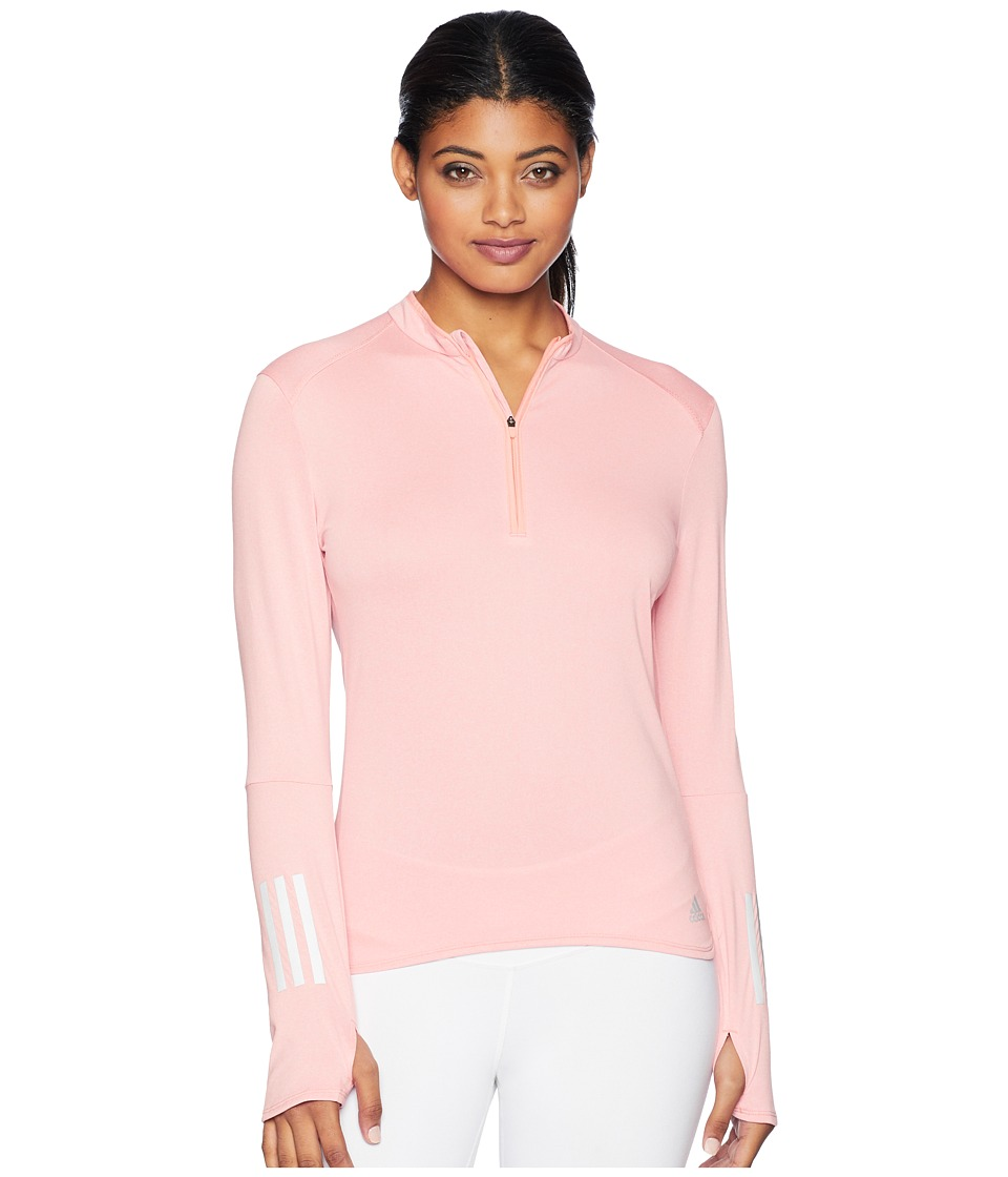 adidas Response 1/2 Zip Long Sleeve Tee (Chalk Coral/Colored Heather) Women