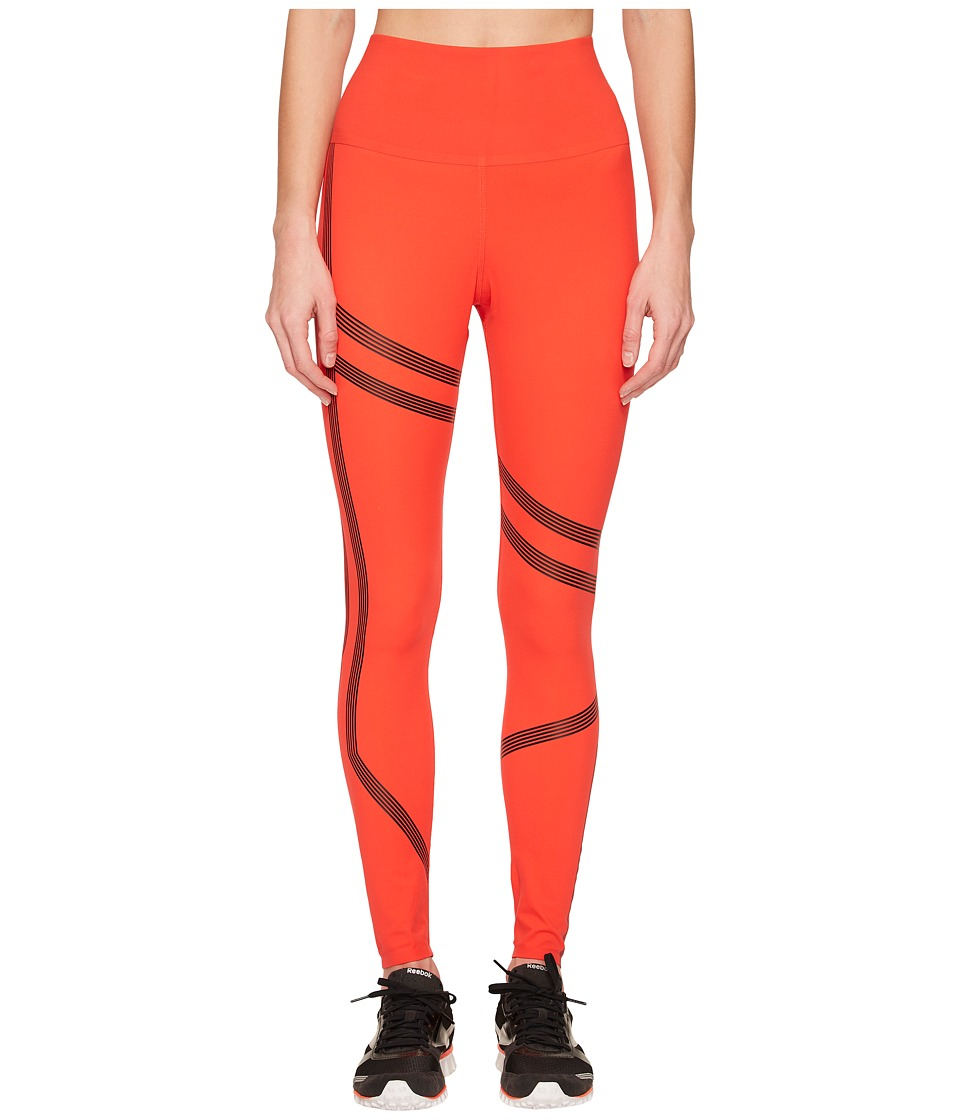 Reebok Linear High-Rise Tights (Glow Red) Women