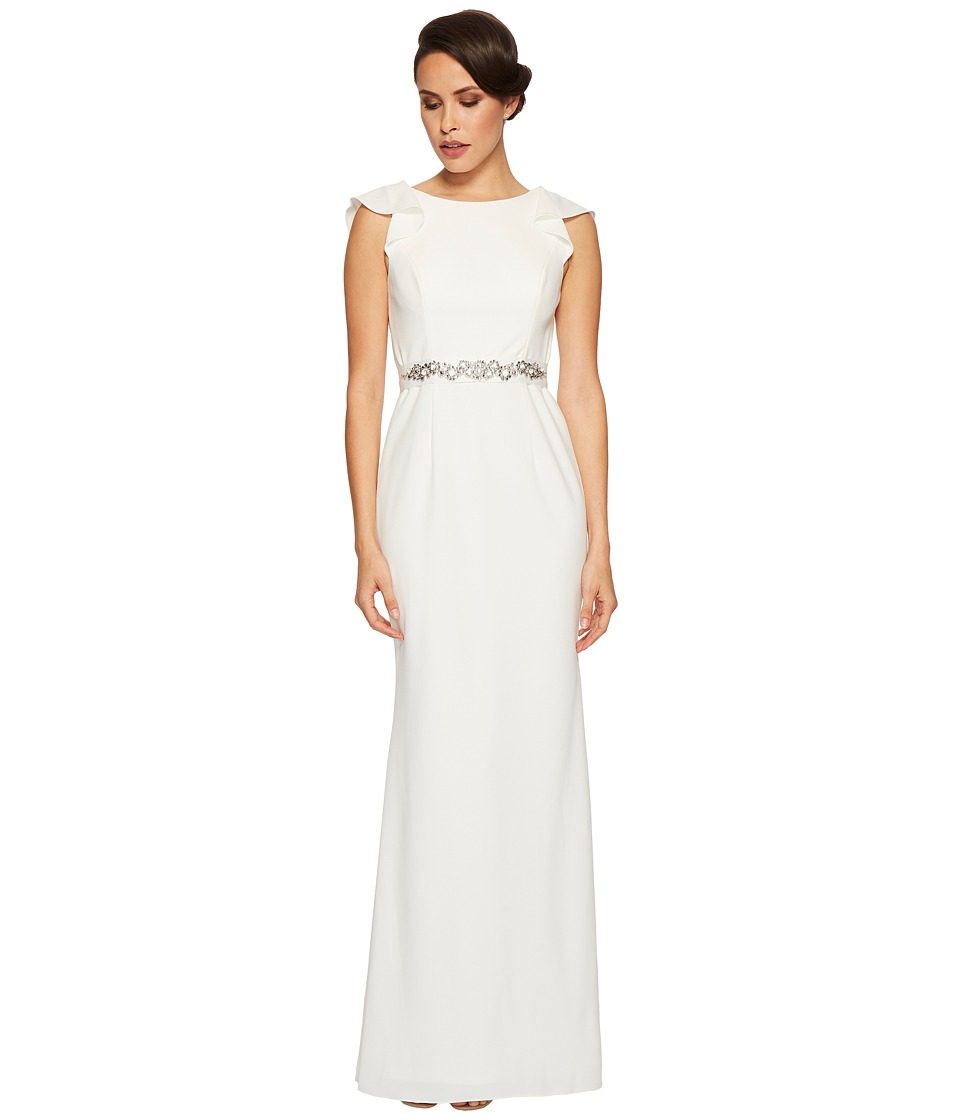 Adrianna Papell Fluttered Short Sleeve Beaded Crepe Gown (Ivory) Women