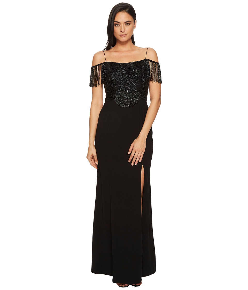 Adrianna Papell Fringe Knit Crepe Off the Shoulder Gown (Black) Women