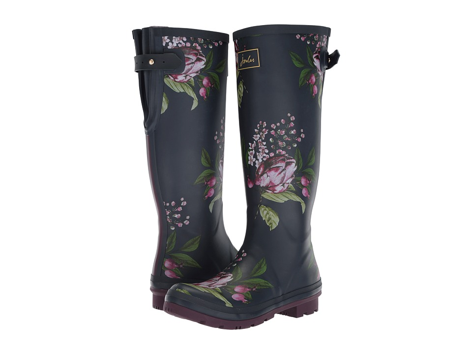 Joules Tall Welly Print (French Navy Artichoke Floral Rubber) Women