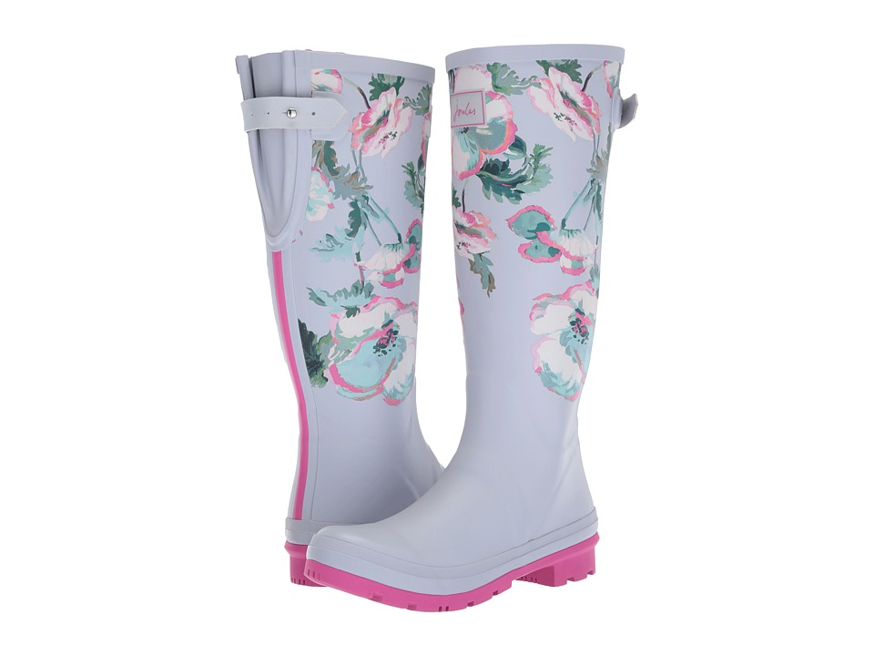 Joules Tall Welly Print (Cool Grey Poppy Rubber) Women