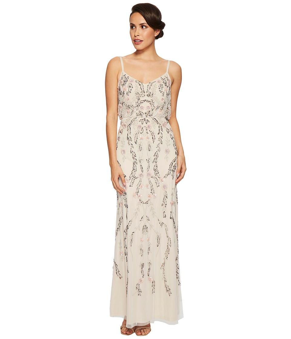 Adrianna Papell Floral Beaded Blouson Gown (Ivory Multi) Women