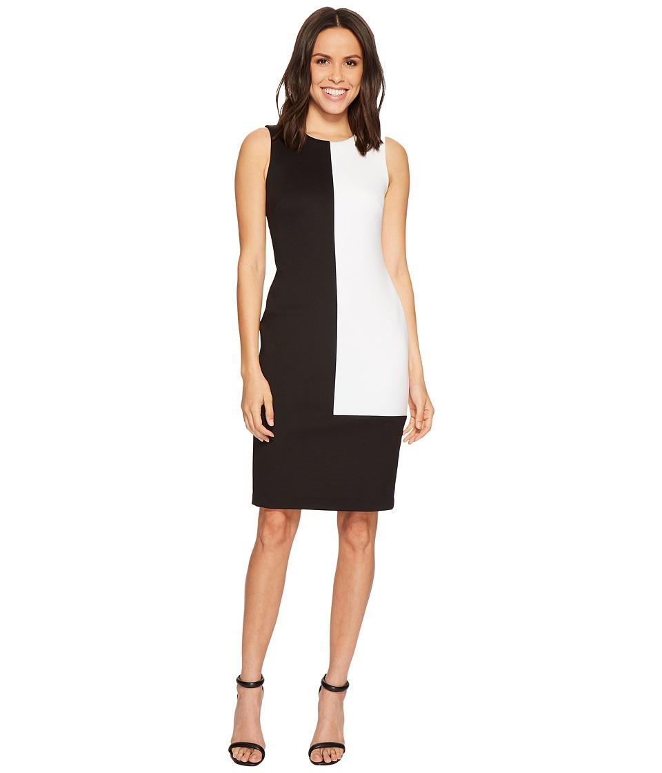 Calvin Klein Color Block Scuba Sheath Dress CD8M16GH (Black/White) Women