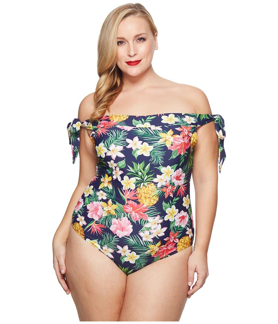 Unique Vintage Plus Size Off Shoulder Hermosa Swimsuit (Navy/Tropical Floral) Women