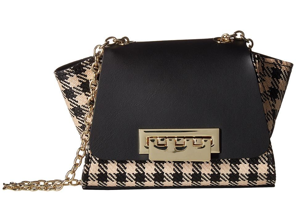 ZAC Zac Posen - Eartha Iconic Mini Chain Crossbody Gingham (Black) Handbags