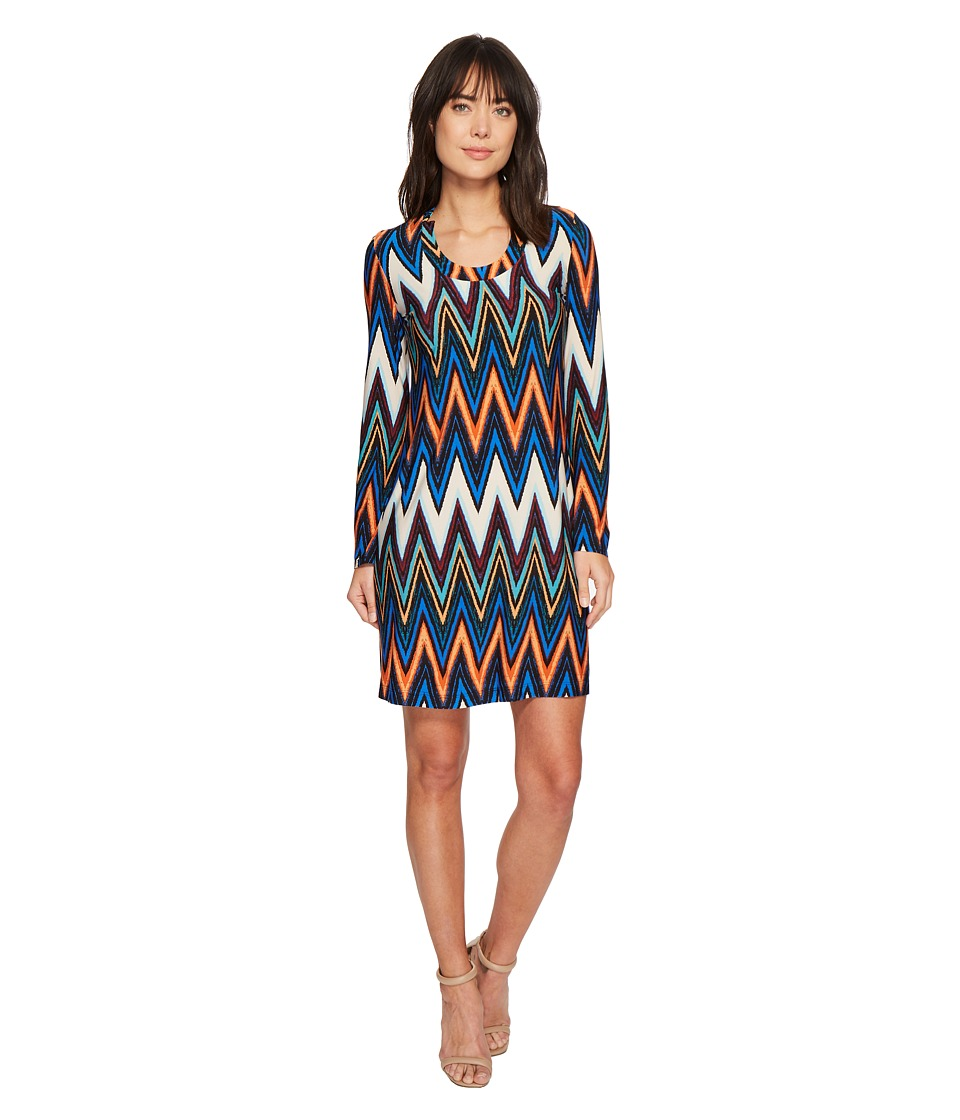 Taylor Chevron Printed Long Sleeve Scoop Neck Jersey Dress (Royal Multi) Women