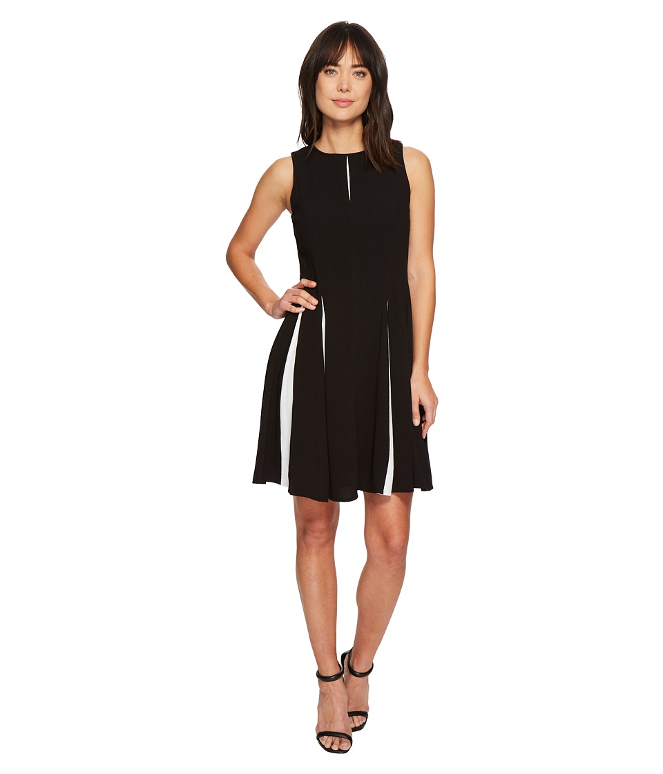 Taylor Keyhole Pleated Full Skirt Dress (Black Ivory) Women