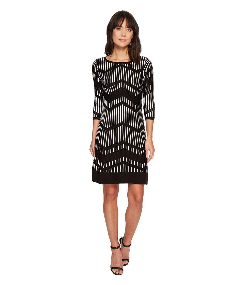 Taylor Chevron Shift Sweater Knit Dress (Black/Off-White) Women