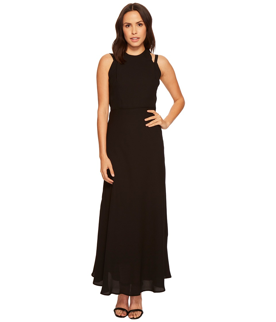 Taylor Cutout Neckline Solid Maxi Dress (Black) Women