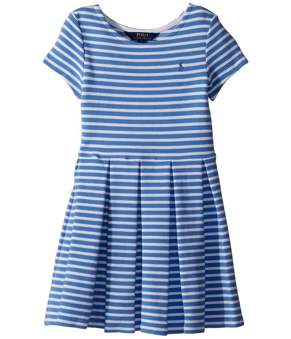 Polo Ralph Lauren Kids Striped Ponte Pleated Dress (Little Kids) (Harbor  Island Blue/White) Girl\u0027s Dress