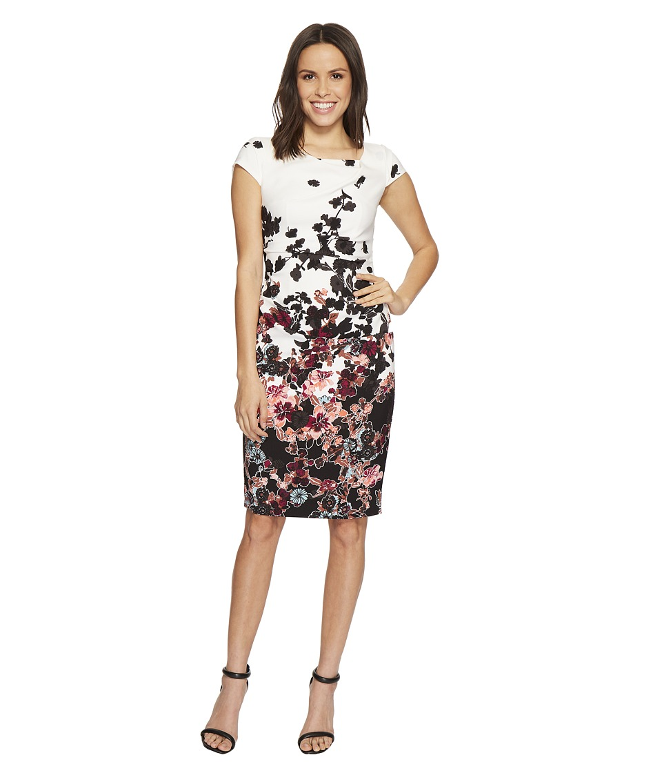 Adrianna Papell Floral Bliss Printed Stretch Crepe Sheath Dress with Cowl Neckline and Draped, Tucked Body, Fully Lined (Ivory Multi) Women
