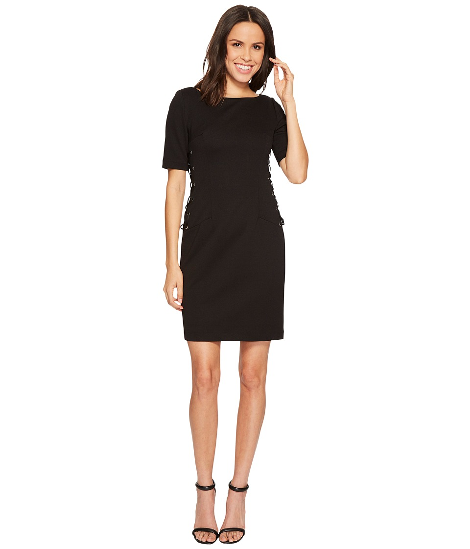 Adrianna Papell Micro Ottoman Sheath Dress with Lace-Up Detail and Elbow Sleeve (Black) Women