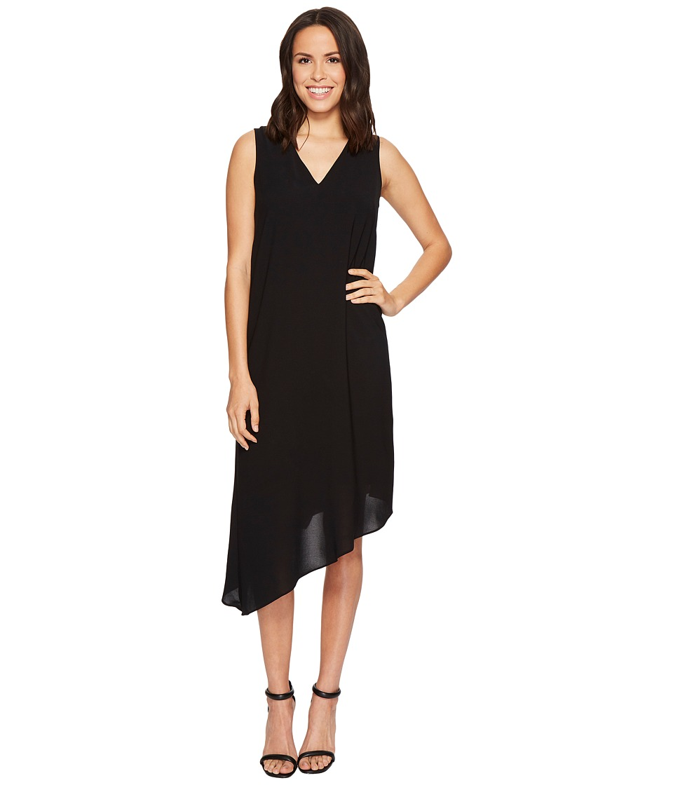 Adrianna Papell Gauzy Crepe Asymmetrical Trapeze Dress with V Neckline, V Cut Out Back, and Back Ruffled Drape, Fully Lined (Black) Women